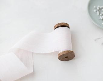 "Pale Blush Pink Crinkle Chiffon Ribbon • 2"""