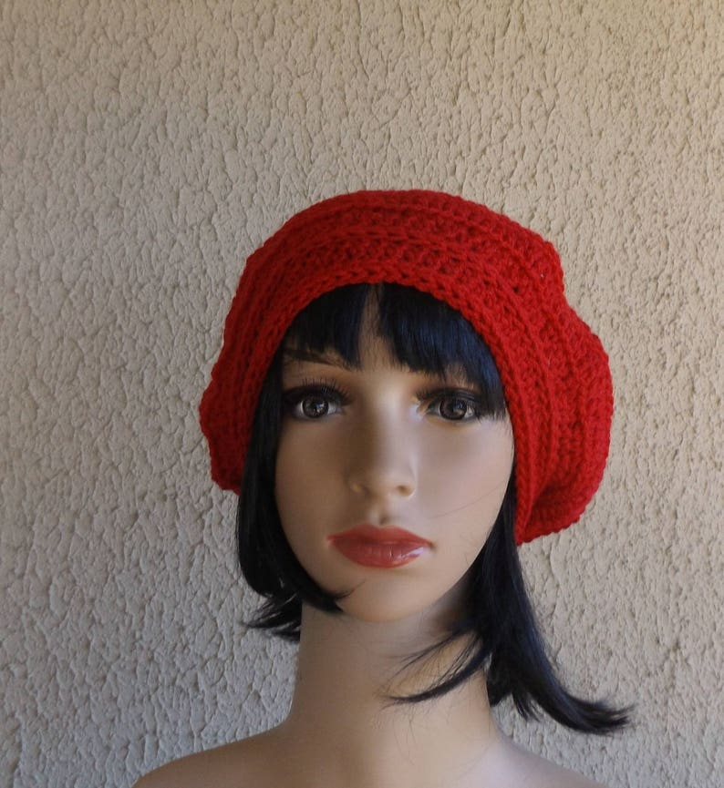 c0dab055ec6 Crochet Hat Slouchy Beanie Winter Red Beret Wool Beanie
