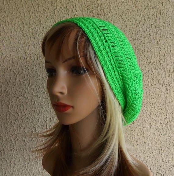 Crochet Beret Spring Fashion Hat Summer Hat Cotton Crochet Hat Cotton Slouch Hat Blue Tam Womens Cap Womens Beret Spring Beanie