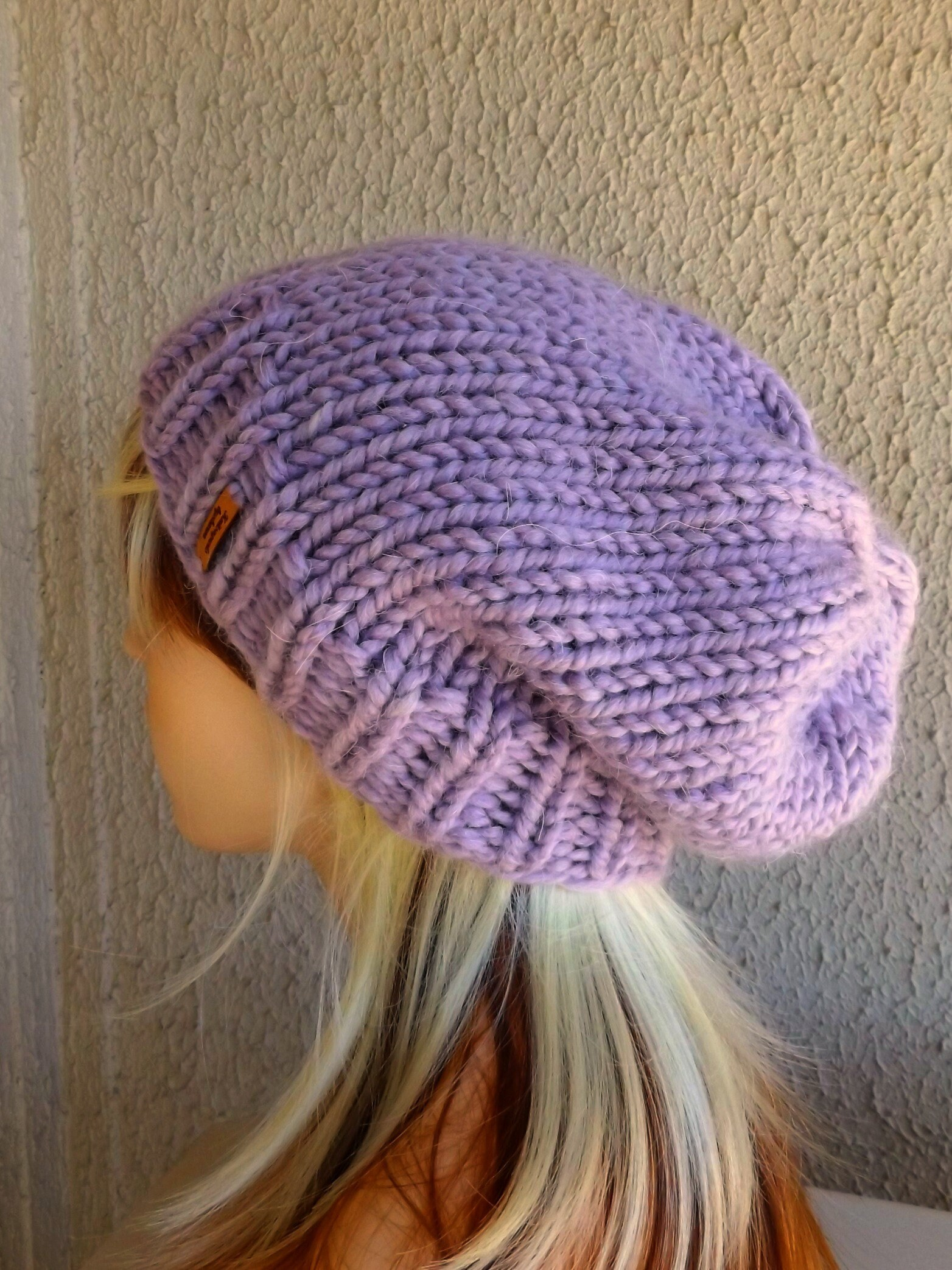 07dad55d2bf Hand Knitted Slouchy Hat Chunky Knit Beanie Purple Alpaca