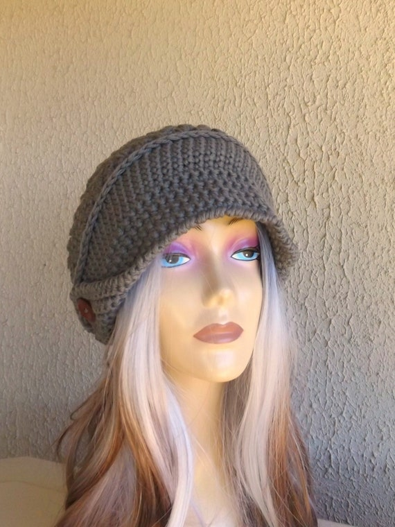 b9fb7c8c1a0 ... Crochet Newsboy Hat Bark Brown Merino Wool Chunky Knit Hat