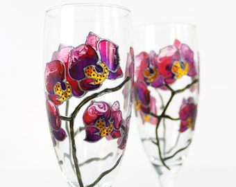 Purple Calla Lily Hand Painted Wine Glasses Set of 2