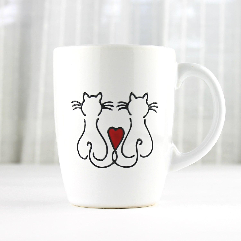 tasse en porcelaine peinte adore les chats design chat etsy. Black Bedroom Furniture Sets. Home Design Ideas