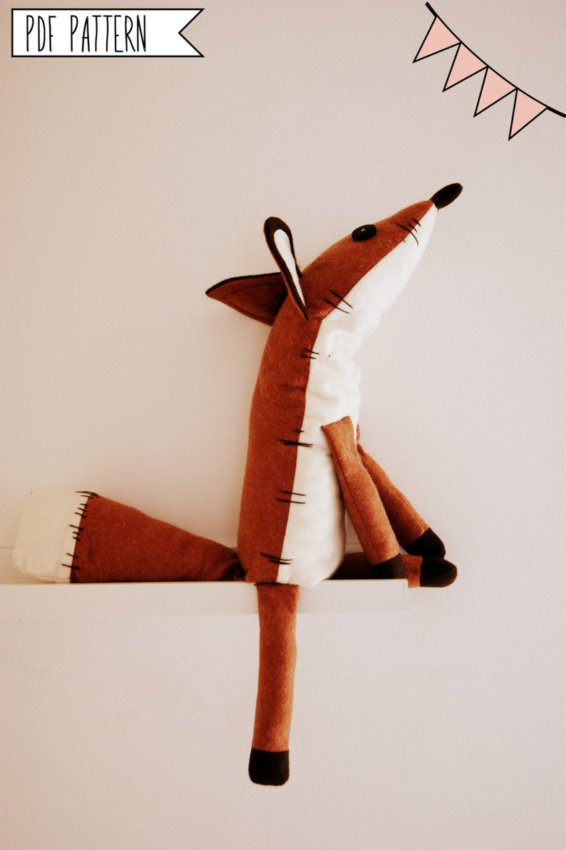 Pdf sewing pattern Fox Stuffed Animal Fox plush toy pattern image 0