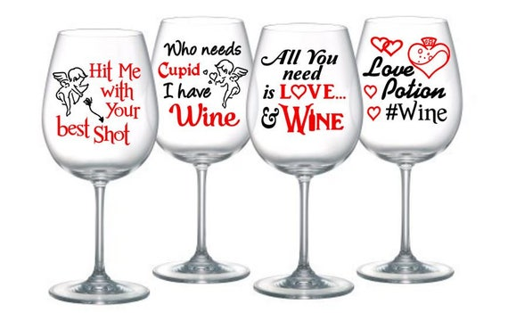 Valentine Wine Glass Sayings Cupid Set Of 4 Digital Etsy