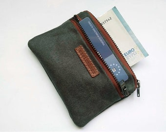 Flat wallet gray canvas- Gray waxed canvas effect pocket wallet