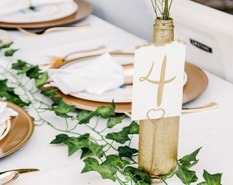Custom Table Cards - Gold watercolor on torn edge with gold numbers