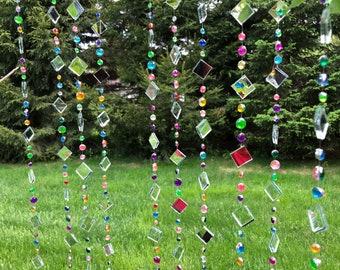 Tree Jewelry Garden Art, multicolored rhinestones, sun catcher, gift for gardeners, garden art, yard art, garden zen, suncatcher mirror