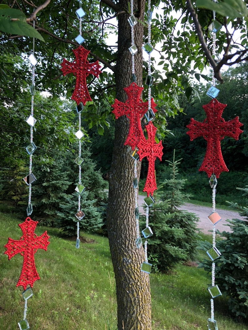 Garden Art Whimsical Sun Catchers with Red Cross  and clear rhinestones.