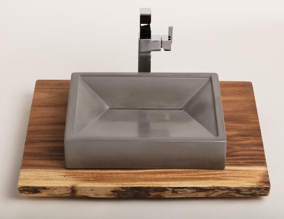 Concrete Vessel Sink Concrete Sink Vessel Sink Bathroom Etsy