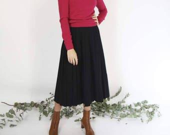Black Wool Pleated Midi Skirt