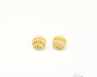 "Lemon and Cream - Fabric Covered Button Earrings Size Medium 3/4"" by The Fuzzy Pineapple"