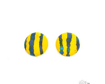 "Strike Me Blue - Fabric Button Earrings Size Extra Large XL 1 1/2"" by The Fuzzy Pineapple Jewelry Bright Yellow Electric Batik Tie Dye Ocean"