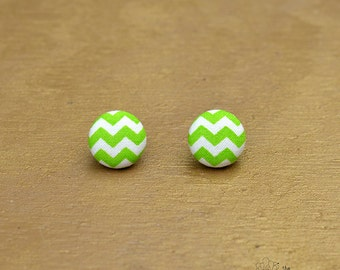 "Green and White Chevron - M Fabric Covered Button Earrings Size Medium 3/4"" by The Fuzzy Pineapple Jewelry Candy Apple Light Green Bright"