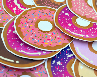Donut Stickers Crowdfunding For TFPFEST by The Fuzzy Pineapple Sweets Light Pink Blue Decoden Stawberry Sprinkles Donuts Phone Sticker