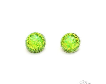 Peridot Sparkle Stud Earrings -by The Fuzzy Pineapple Gifts Glitter Sparkly Light Green Mermaid Dust Snowglobe Confetti Party Stud Earrings