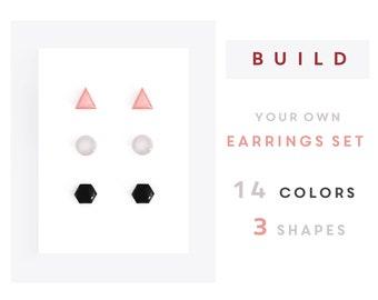 Stud earrings set three pairs Surgical steel Custom earrings set