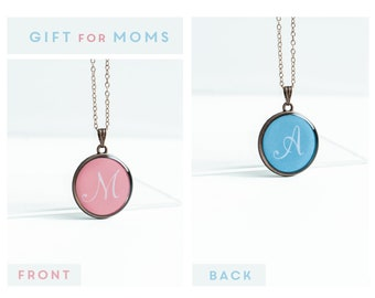 Two letters necklace, Gift for mom of two, Initial necklace, double sided necklace