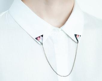 Triangle collar pins, unique accessory, collar chain, shirt brooches