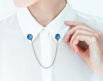 Neptune collar pins Space accessories Planets pins Shirt collar chain
