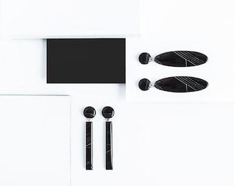 Double drop earrings Surgical steel Black oval earrings