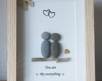 Pebble Picture, Pebble Art framed Picture- Couple - You are my everything - small