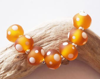 7 Handmade Lampwork Glass Beads - Amber,White Dots -etched - 15mm