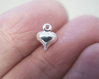 20 Tiny Small Puffed Heart Charms - 6mm - Silver Plated