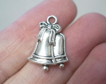 8 Metal Antique Silver Wedding Bell/Bell  Charms - 23mm