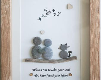 Pebble Art framed Picture- Couple and Cat