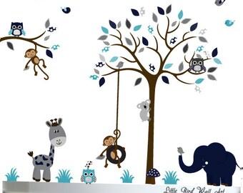 Wall Mural Stickers Nursery Tree and Birds Tree Wall Decal Huge Tree Wall Decal Wall Art Navy And Grey