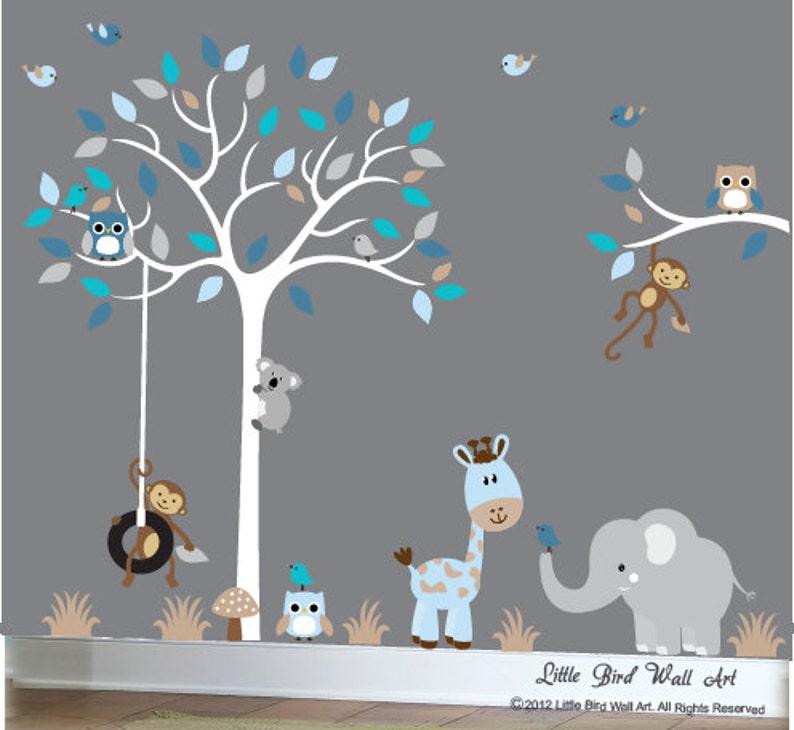 Baby junge Wand Aufkleber Kinderzimmer weiß Baum Wand | Etsy
