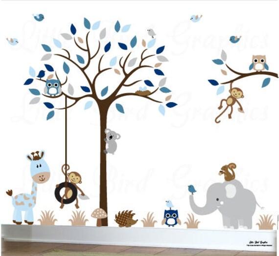 Baby Junge Aufkleber Baum Kinderzimmer Tier Eule Wandtattoo