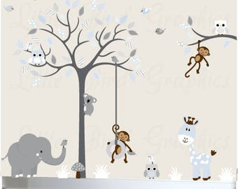 Childrens wall decal tree nursery decals sticker mural baby room decor