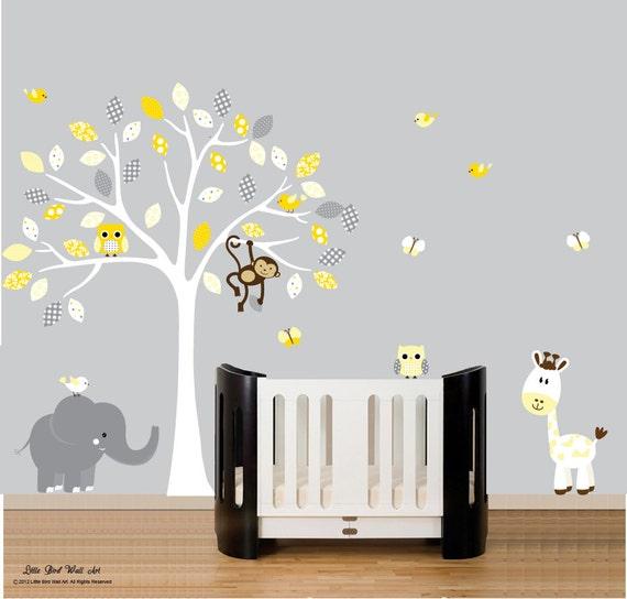 Grey Yellow Wall Art Nursery Wall Art White Grey Nursery C005 D13 Tree and Animals Large Jungle Tree White Wall Decals