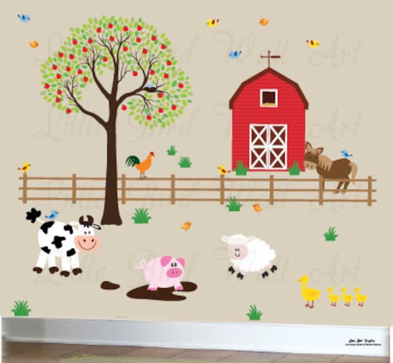 farm animals wall decal decal barn set farm room decor | etsy