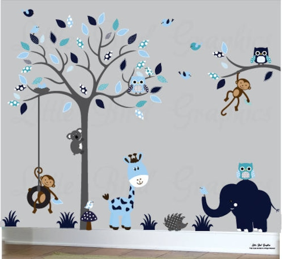 Arbre sticker, Wall Stickers chambre de bébé, enfants d'arbre sticker,  chouettes sticker, arbre sticker chouette, murs de stickers chambre d'enfant