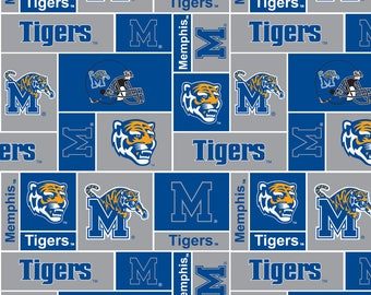 Personalized University of Memphis Tigers Fleece and Minky Baby Blanket
