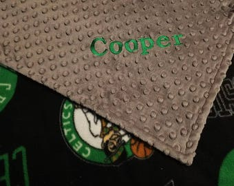 Personalized Boston Celtics Basketball Fleece and Minky Baby Blanket