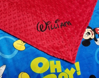 Personalized Mickey Mouse Print Minky Custom Handmade Baby Blanket
