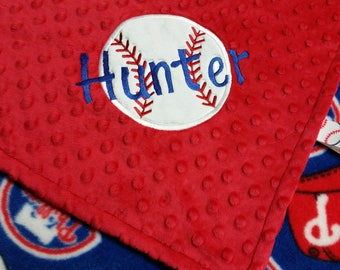 Personalized Philadelphia Phillies Baseball Fleece and Minky Baby Blanket with baseball applique