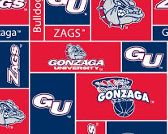 Personalized Gonzaga Bulldogs Basketball Fleece and Minky Baby Blanket
