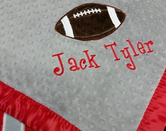 Personalized Ohio State Fleece Football and Minky Baby Blanket