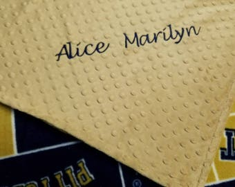 Personalized University of  Pittsburgh Fleece and Minky Baby Blanket.  PITT Most teams available... Convo me for yours.