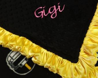 Personalized Pittsburgh Steelers Football Fleece and Minky Baby Blanket