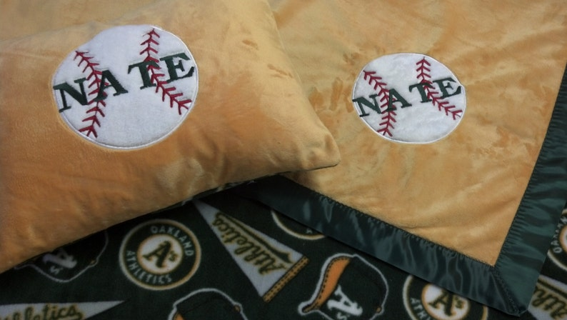 Personalized Oakland A/'s Athletics Baseball Fleece and Minky Baby Blanket with baseball applique
