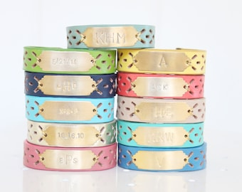 Personalized Bracelet, Leather Monogram Bracelet, Initial Bracelet, Name Bracelet, Custom Name Bracelet
