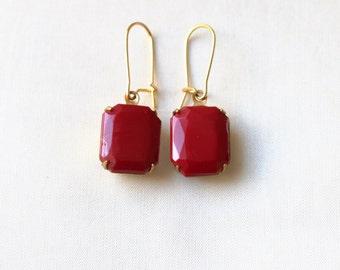 Scarlet Red Glass Cabochon Earrings, Set Stone Earrings, Colored Stone Earrings, Rhinestone Earrings Bezel Earrings