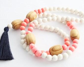 Tassel Necklace, Beaded Tassel Necklace, Statement Necklace, Orange, Navy, and White Wood Bead Tassel Necklace, Tassel Jewelry