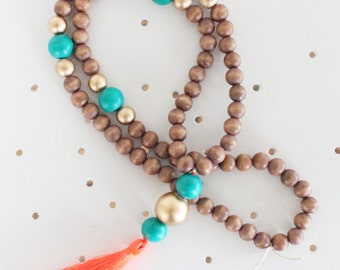 Tassel Necklace, Beaded Tassel Necklace, Statement Necklace, Orange, Turquoise, Gold, and Natural Wood Bead Tassel Necklace, Tassel Jewelry